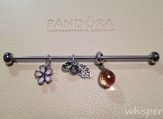 Pandora cherry blossom, forest trinity and pink glass pendant.