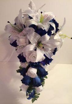 Royal-Horizon-Blue-White-Lily-Bridal-Bouquet-Silk-Rose-Flower-Package-2pc