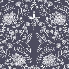 Hawthorne Threads - Nectar - Hummingbird Damask in Ink