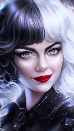 Disney Art, Disney Movies, Blue Flower Wallpaper, Cruella Deville, Evil Villains, Florence The Machines, Goth Art, Digital Art Girl, Pencil Art Drawings