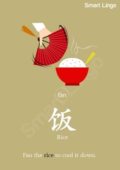 """""""fàn"""" sounds similar to the English word fan. """"Fàn"""" can not only refer to cooked rice or other cereals, but also food, dish or meal. For example, chī(吃) means """"to eat"""". """"Meal"""" is fàn (饭). Therefore chīfàn (吃饭) means """"to have a meal"""".  So, chīwǎn fàn (吃晚饭) is """"to eat dinner"""" . There are eight main Chinese cuisines from eight areas: Lu (Shandong), Yue (Guangdong), Chuan (Sichuan), Xiang (Hunan), Su (Jiangsu), Zhe (Zhejiang), Min (Fujian) and Hui (Anhui)."""