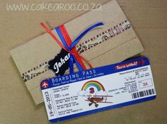 Fantastic airplane party invitation looks like a boarding pass!
