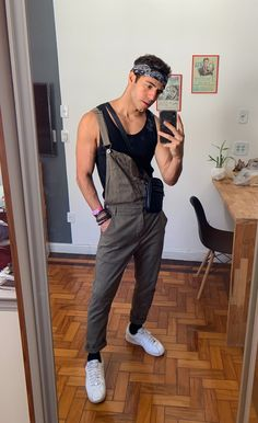 Rave Outfits Men, Edgy Outfits, Cool Outfits, Fashion Outfits, Overalls Fashion, Fashion Tips, Gay Outfit, Herren Outfit, Lookbook