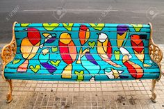 SANTIAGO - JANUARY 20 Painted Benches By Different Artists On ...