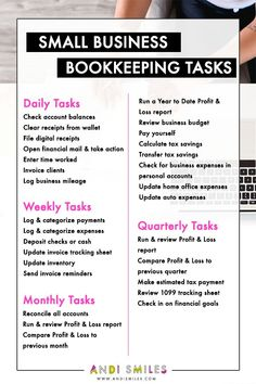 Starting a business tips - Have you been blowing off your small business bookkeeping? Check out this list of small business bookkeeping tasks and get your accounting organized. Click through to get a printable version with a bonus Annual tasks section! Small Business Bookkeeping, Small Business Marketing, Marketing Ideas, Online Business, Marketing Logo, Accounting For Small Business, Small Business List, Women In Business, Business Ideas For Women Startups