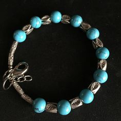"10 mm Brazilian Aquamarine Perles Rondes Bracelet 7.5/""AAA"