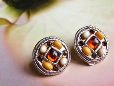 Vintage Fall Color Bead and Cabochon Clip On Earrings - Autumnal Beauties by dazzledbyvintage on Etsy