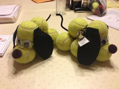 Recycled tennis balls as a puppy. I made these as a trophy for a tournament I was running.