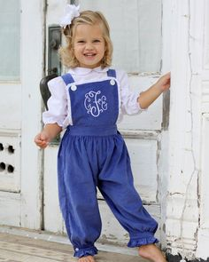 Adorable overalls for your little girl this fall! These navy corduroy overalls have lace trim and cuff and ruffle pant legs. Cute Outfits For Kids, Toddler Girl Outfits, Baby Girl Dresses, Baby Dress, Navy Dress Outfits, Preppy Outfits, Baby Girl Fashion, Kids Fashion, Fashion Ideas