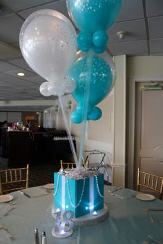 Tiffany Themed Centerpiece with Double-stuffed Balloons (Helium-filled decor) Balloon Centerpieces, Baby Shower Centerpieces, Balloon Decorations, Bat Mitzvah Themes, Bar Mitzvah Party, Bat Mitzvah Decorations, Tiffany Theme, Tiffany Box, Tiffany Sweet 16