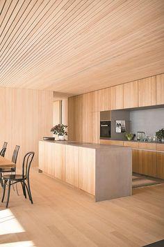 Haus B in Zwischenwasser / Dietrich Timber Architecture, Architecture Design, Cafe Interior, Kitchen Interior, Küchen Design, House Design, Edwardian Haus, Plywood Interior, Barn House Plans
