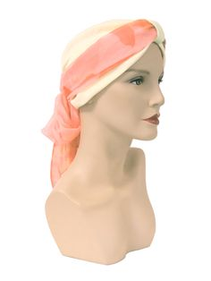 Cream Poly Cotton Turban with the Coral Flower on Peach Maxi Scarf