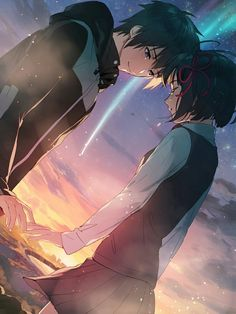 Image discovered by Sugary Queen. Find images and videos about anime, your name and kimi no na wa on We Heart It - the app to get lost in what you love. Manga Anime, Anime Body, Film Anime, Fanarts Anime, Couple Amour Anime, Manga Couple, Anime Love Couple, Cute Anime Couples, Anime Pokemon