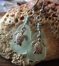 Sea Glass Jewelry Earrings 316L Surgical Steel Sea Turtle Pale Mint Green #Handmade #DropDangle