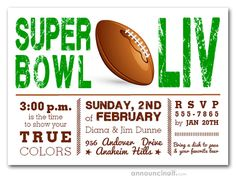 Super Bowl Showdown Party Invitations are a great way to invite your friends to join you for the big game LIV in Miami on February 2020 Party Invitations, Invites, Work Party, Invite Your Friends, For Your Party, Big Game, Join, Football, American Football
