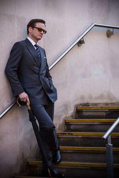 Behind the Scenes - Colin Firth, Kingsman: The Secret Service (Matthew Vaughn, Kingsman Suits, Kingsman Harry, Colin Firth Kingsman, Taron Egerton Kingsman, Kingsman The Secret Service, Matthew Vaughn, British Style Men, Mr Darcy, Bridget Jones