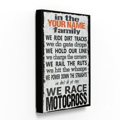 Personalized Motocross Family Canvas (Any Color)
