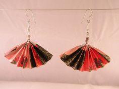 Large Origami Fan Earrings by UsefulOrigami; $12