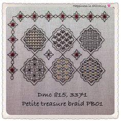 Block 1 complete! Judith deB Happiness is stitching - I love it! www.blackworkjourney.co.uk