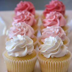 Pretty pink ombre cupcakes (Couture Cupcakes & Cookies). Simple and pretty for Mother's Day.