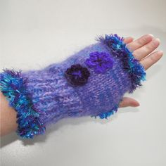 Unique Fingerless Gloves - Purple and Teal