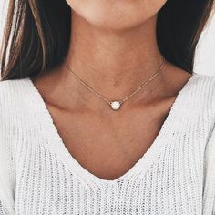 - Only small quantity made - Delicate chain choker with white opal pendant - 14k gold or silver layer of your choice: Gold-plated jewelry is created a process that places a layer of gold on brass. - 1