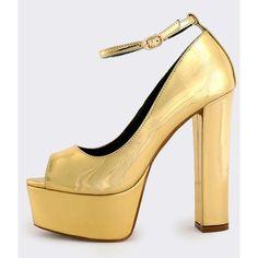 Chunky Heel Platform Pumps GOLD ($35) ❤ liked on Polyvore featuring shoes, pumps, gold, high heel pumps, gold peep toe pumps, peep-toe pumps, peeptoe pumps and high heel shoes
