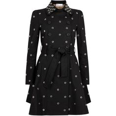Womens Trench Coats RED Valentino Black Eyelet-embellished Cotton... ($1,430) ❤ liked on Polyvore featuring outerwear, coats, black trench coat, trench coat, red valentino, double breasted coat and cotton trench coat