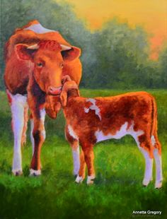 """Her First Calf is an 18""""x24"""" oil on deep profile canvas."""