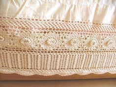 "Double Handmade Crochet Lace Bedskirt 14"" Drop, Ivory, 8"" corchet band"