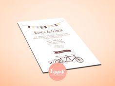 Egyszerű meghívó | Simple wedding invitation with bicycle