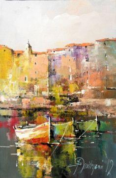 Branko Dimitrijevic, Boats at Night, Oil on canvas, Watercolor Landscape, Landscape Art, Landscape Paintings, Watercolor Paintings, Boat Painting, Art Oil, Art Images, Decoupage, Abstract Art