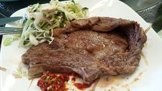 Last night's dinner. Steak and salad with Thai chill sauce. Homemade