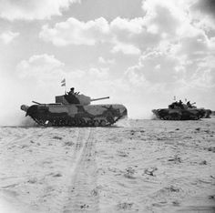 Churchill III tanks of 'Kingforce' during the Battle of El Alamein. Only a few Churchills served at El Alamein, all with King Force, having been sent out for appraisal and combat testing Cromwell Tank, Afrika Corps, Military Pictures, Ww2 Pictures, Tank Destroyer, Army Vehicles, British Army, British Tanks, World Of Tanks