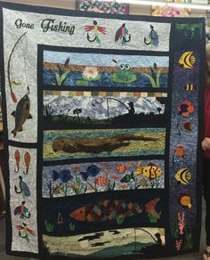 Gone Fishing Row By Row Quilt Blanket Quilting Projects, Quilting Designs, Sewing Projects, Quilting Ideas, Sewing Ideas, Panel Quilts, Quilt Blocks, Wildlife Quilts, Row By Row Experience