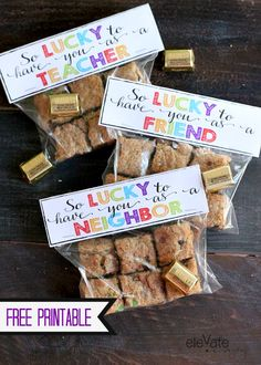 """Toffee Pretzel Leprechaun Cookie Bars and free """"Lucky"""" Printable.  Perfect for St. Patrick's Day."""