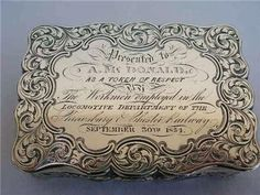 Very Fine Nathaniel Mills Sterling Silver Table Snuff Box Birmingham 1852.