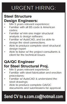 Wanted for a engineering company in qatar jobs pinterest job qatar urgently required malvernweather Image collections
