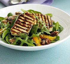 The Best Halloumi Mint Salad Recipes on Yummly Mint Recipes, Greek Recipes, Salad Recipes, Mint Salad, Orange Salad, Bbc Good Food Recipes, Vegetarian Recipes, Healthy Recipes, Vegan Meals