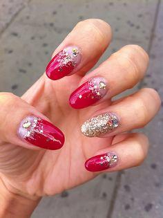Glitter Red Nail Design.