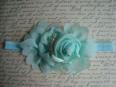 Check out this item in my Etsy shop https://www.etsy.com/listing/184902011/mintgreen-flower-headband-chiffon-rose-w
