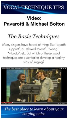 Many singers have heard of things like 'breath support', a 'relaxed throat', 'twang', 'vibrato', etc. But which of these vocal techniques are essential to develop a healthy way of singing? Good singing ALWAYS has to feel good. So no tention, no pain. Watch this video where Pavarotti and Friends (Michael Bolton, Bono, a.o.) sing Nessun Dorma. Michael Bolton is doing a great job. If he would train his vocal and breathing skills he would for sure sing almost as well as Pavarotti.