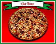 The Bear Pizza  Creamy garlic Ranch dressing, mozzarella, grilled chicken, red onions, fresh tomatoes, crushed red peppers & sprinkled with Parmesan cheese
