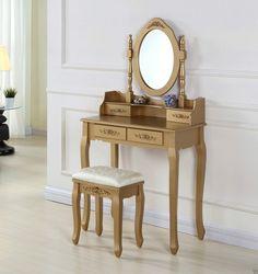 SEAU101 Set mobilier auriu http://www.emobili.ro/cumpara/seau101-set-masa-aurie-toaleta-cosmetica-machiaj-oglinda-masuta-287 #eMobili