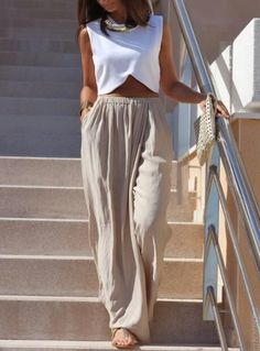 Now if i had the flat belly to complete the outfit........Palazzo pants