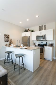 Full stylish kitchen with new stainless steal appliances, all available in Jade Townhomes located in East Regina. New Community, Stylish Kitchen, Townhouse, Jade, Appliances, House Styles, Furniture, Home Decor, Homemade Home Decor