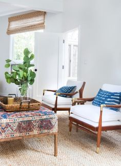 white chairs with indigo pillows and other boho patterns