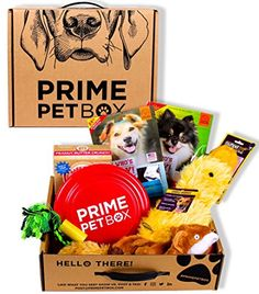 Prime Pet Box Dog Gift Box Care Package  Made in the USA Premium Treats Plush Duck Rope  Flying Disc ** Want to know more, click on the image.