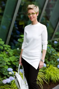 Asymmetry  I like this but not in White....I'd rather have it in a jewel tone or black.. Asymmetrical Sweater, Asymmetrical Tops, White Backpack, Stitch Fit, Stitch Fix Stylist, Daily Look, Pixie Cut, Clean Lines, Snug