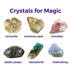 Crystals for magic. Stay magical always! Crystal Magic, Healing Crystal Jewelry, Crystal Healing Stones, Stones And Crystals, Gem Stones, Minerals And Gemstones, Crystals Minerals, Rocks And Minerals, Gemstone Properties
